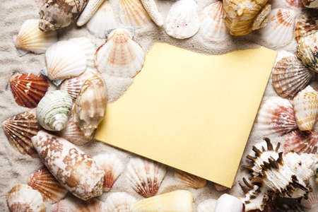 beach mat: Summer paper letter with shell