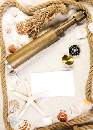 Sands, messages, shells and best from holidays  Stock Photo - 7385652
