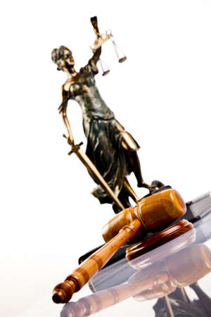 blind justice: Hammer and god of law  Stock Photo