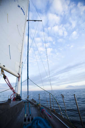 Sailboat in the open sea photo