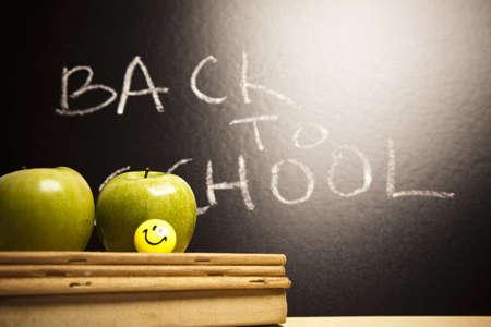 Inscription on a school chalkboard - back to school  Stock Photo - 7390826