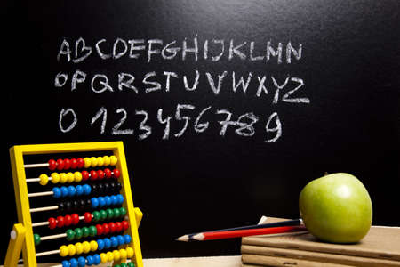 reading material: School background - letters and chalkboard