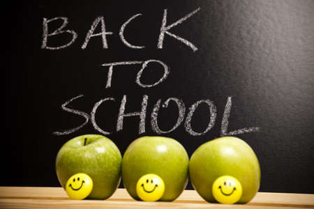 Inscription on a school chalkboard - back to school Stock Photo - 7390939