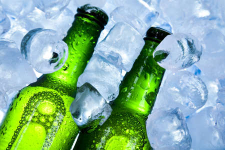 sapid: Three fresh beer with ice  Stock Photo