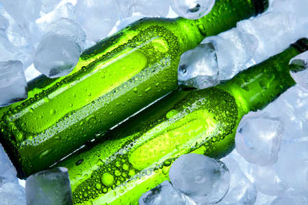 adjuvant: Three fresh beer with ice  Stock Photo