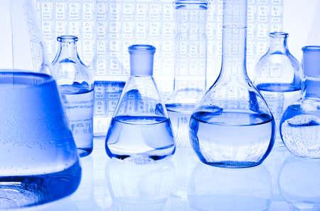 Blue chemistry vials photo