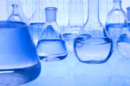 scientific: Blue chemistry vials