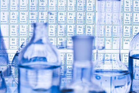 chemical substance: Laboratory glassware with Chemical formula