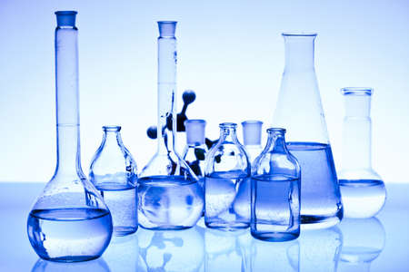 Blue chemistry vials photo