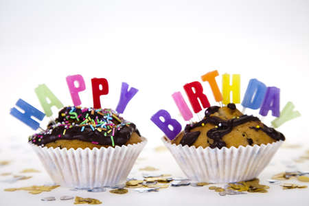 Cupcakes spelling out happy birthday Stock Photo - 8252700