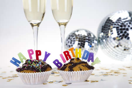 Party Candles on a Slice of Birthday Cake Stock Photo - 8252776