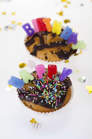 Cupcakes spelling out happy birthday Stock Photo - 8252777