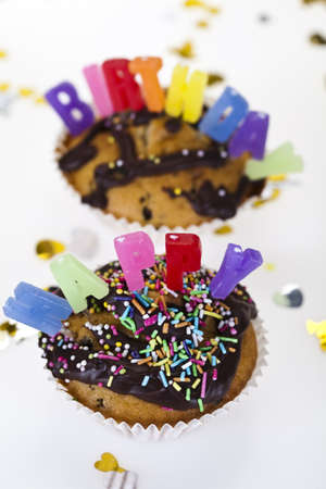Cupcakes spelling out happy birthday Stock Photo - 8252863