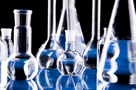 material de vidrio: Vidrio en laboratorio     Foto de archivo