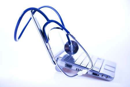 Laptop and Stethoscope Stock Photo - 8563817