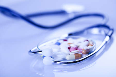 Medicines collection and Stethoscope photo