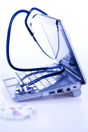 Laptop and Stethoscope Stock Photo - 8563830