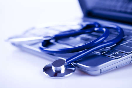 pharmacologist: Laptop and Stethoscope