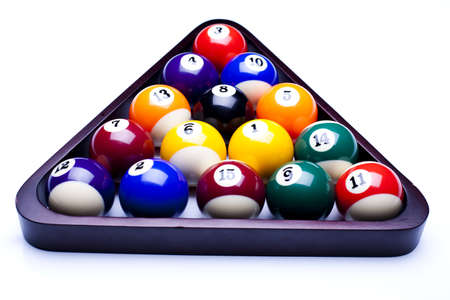 game of pool:  Billiard balls isolate on white