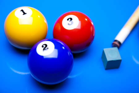 Billiard balls isolate on blue Stock Photo - 9119528