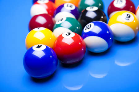 blu: Billiard balls isolated on blu