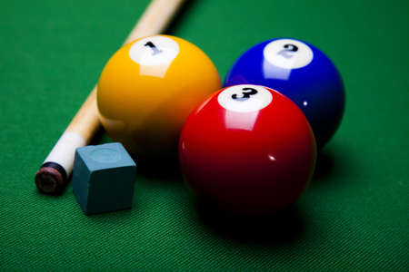 cue ball: Close-up billiard balls