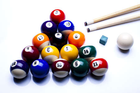billiards tables: Billiard balls isolate on white