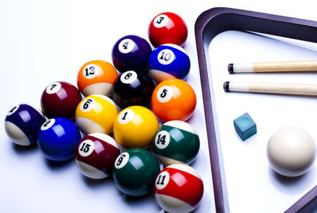 table set: Billiard balls isolate on white