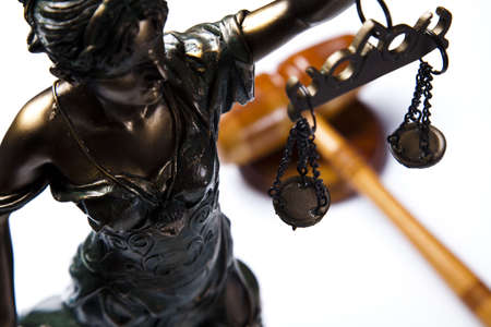 law: Hammer and god of law  Stock Photo