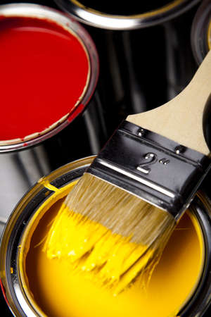 Cans and paint and brush on the Colorful background Stock Photo - 9118777