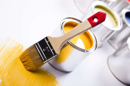 Paint brush and cans photo