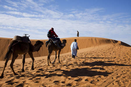 exhausting: Sand Desert with Dunes in Marocco, merzouga
