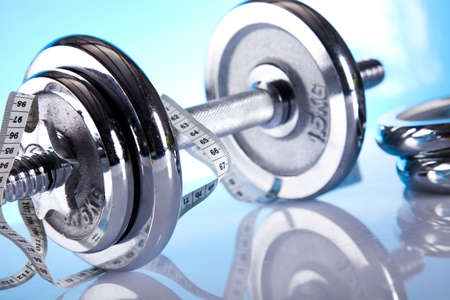 Measuring of dumbbell Stock Photo - 9966878