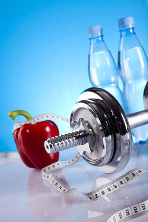 Dumbbell and bottle water photo
