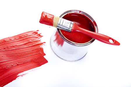 Cans of paint with paintbrush Stock Photo - 9950875