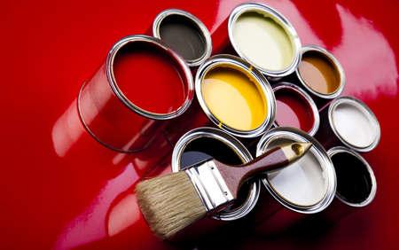 Paint, paint cans, brush  photo