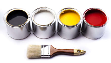 Cans of paint with paintbrush Stock Photo - 9950666