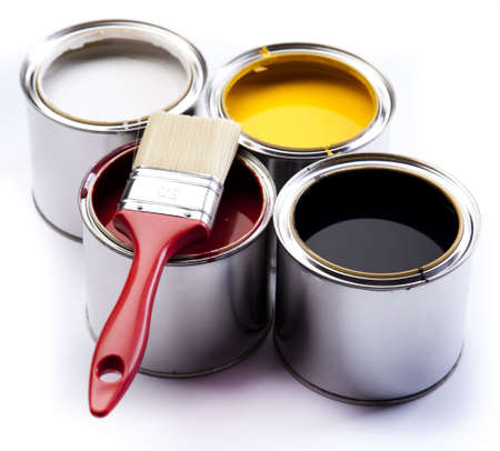 paint can: Paint buckets, paint and brush Stock Photo