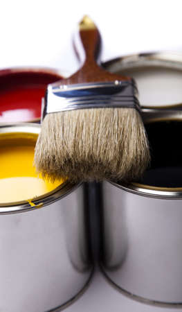 Cans of paint with paintbrush Stock Photo - 9949044