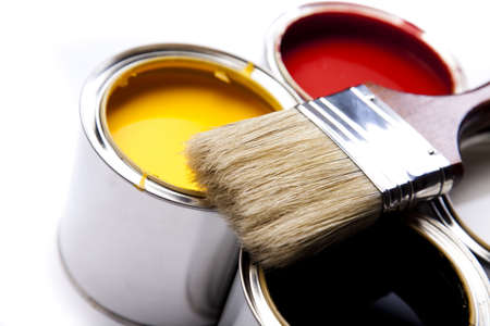 Paint buckets, paint and brush photo