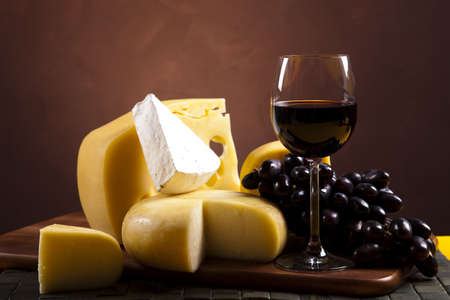 Red wine and cheese photo