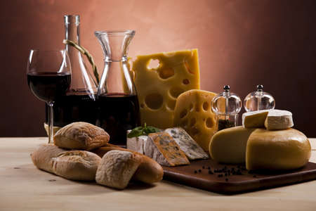 camembert: Cheese and wine Stock Photo