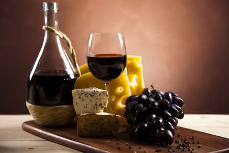 Cheese and red wine photo