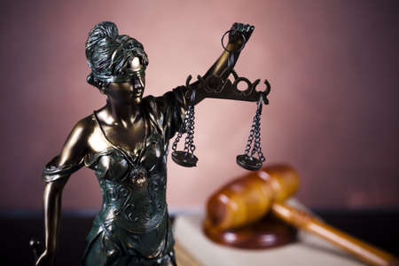 judgements: Antique statue of justice, law