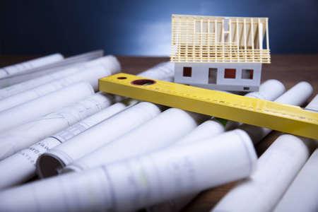 wooden metre: House blueprints close up
