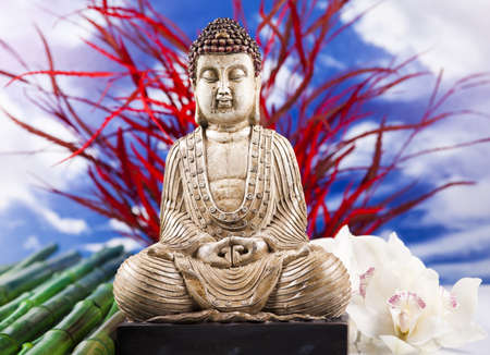 Buddha statue and bamboo Stock Photo - 12139659
