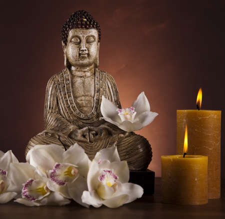 budda: Buddha with candle Stock Photo