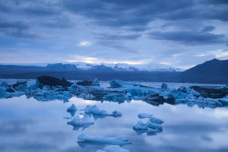 Landscape scenery with a ice, Jokulsarlon, Iceland  photo