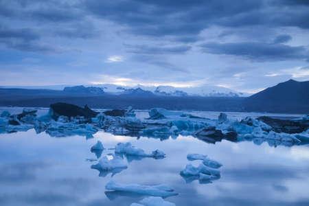 Landscape scenery with a ice, Jokulsarlon, Iceland  photo