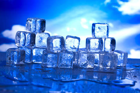 Blue and shiny ice cubes  Stock Photo